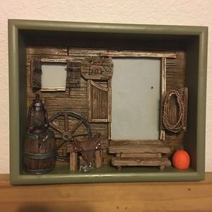Rustic western 3D shadow box picture frame